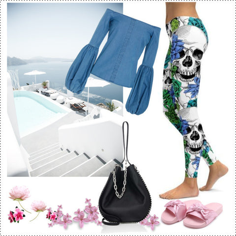 BLUE FLORAL SKULLS LEGGINGS