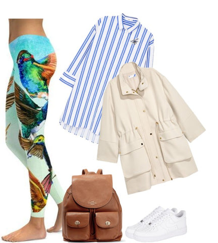 2198639fe7da1 Instead of styling leggings as you would your gym-wear, dress them up with  a longer jacket and cool striped blouse.