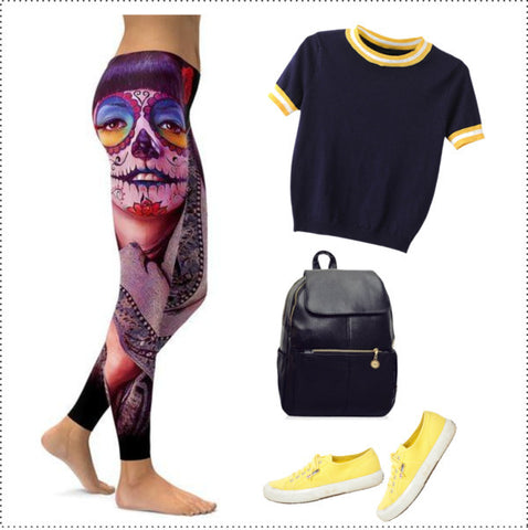 PHOTOREALISTIC PAINTED SUGAR SKULL LEGGINGS