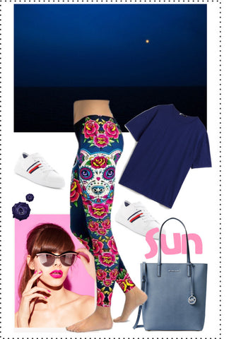 SUGAR SKULL PITBULL LEGGINGS