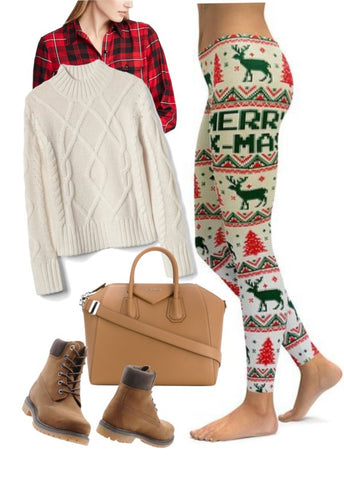 The faux knitted design of these Christmas leggings will add even more of  the holiday ambiance that you pursue this holiday season. - Casual Holiday Outfits How To Pair Your Festive Leggings
