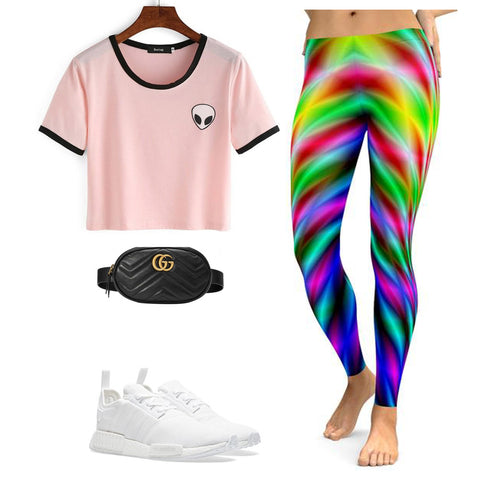 98f108385adcb Pair these Psychedelic Neon Rave Leggings with your baby pink shirt and a  pair of white sneakers as a way to make a statement without drawing too  much ...