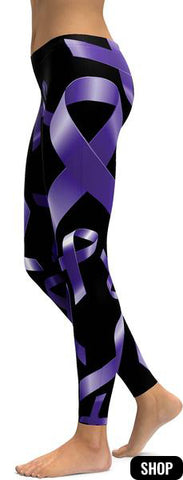 Purple Ribbon Awareness Leggings