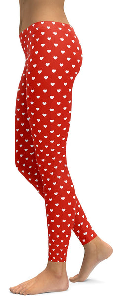 White Mini Hearts Red Leggings