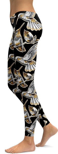 White&Gold Hummingbird Leggings