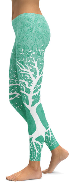 Mint Green Tree of Life Leggings