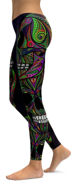Colorful Green Ornament Skull Leggings