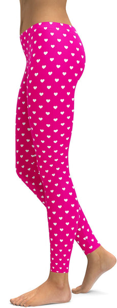 White Mini Hearts Pink Leggings