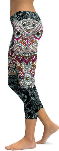 Ornamental Owl Capris