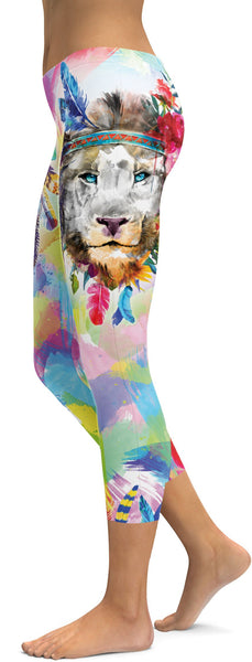 Watercolor Colorful Lion Capris