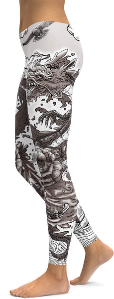 B&W Tattooed Dragon Leggings