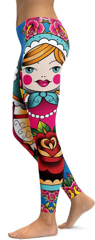Russian Matryoshka Doll Leggings