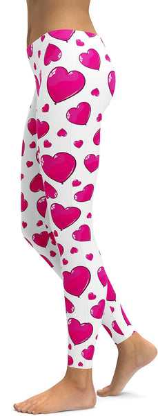 Pink Heart Shaped Balloon Leggings