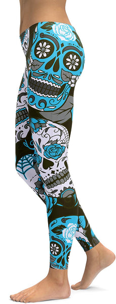 Sky Blue Sugar Skull Leggings