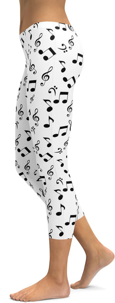 Music Notes White Capris