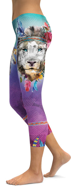 Watercolor Lion Capris