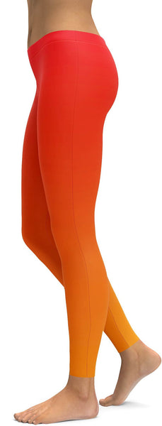 Ombre Hot Orange Leggings