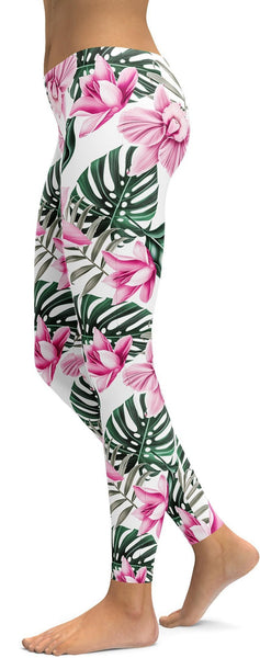 Tropical Floral White Leggings