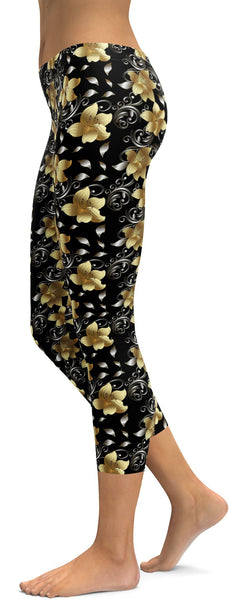 Golden Flowers Capris