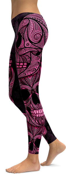 Pink Ornamental Skull Leggings