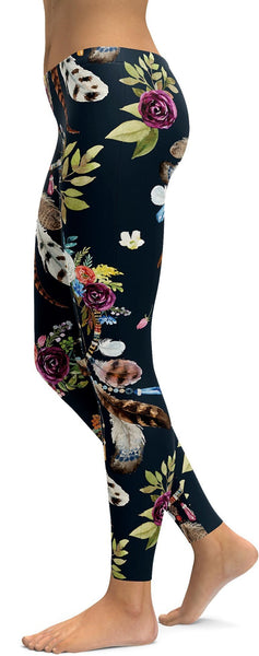 Boho Dreamcatcher and Flowers Leggings