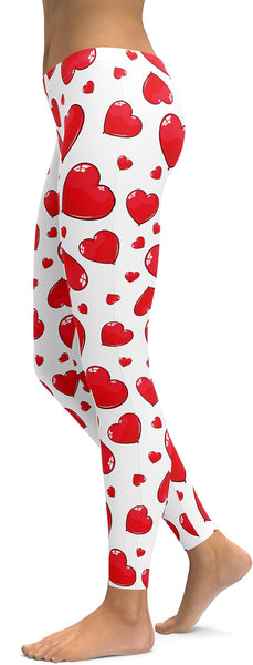 Red Heart Shaped Balloon Leggings