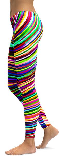 Psychedelic Striped Rave Leggings