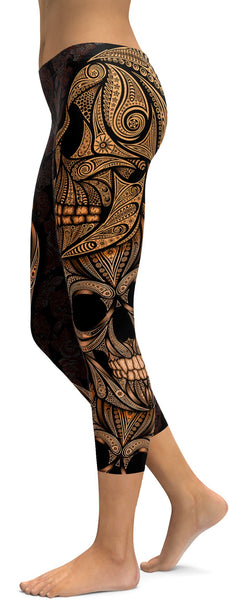 Orange Ornamental Skull Capris