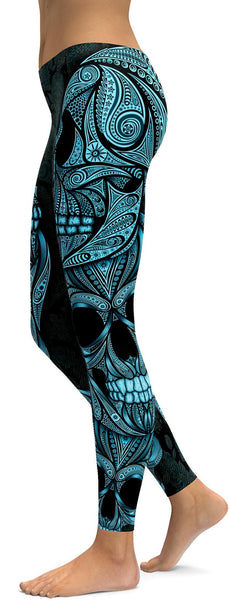 Blue Ornamental Skull Leggings