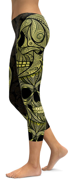 Yellow Ornamental Skull Capris