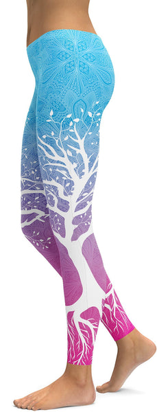 Blue to Pink Tree of Life Leggings
