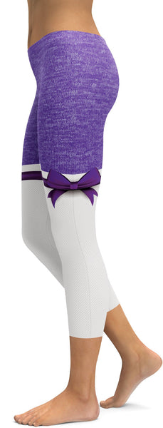 Purple Heathered Thigh High Bow Capris