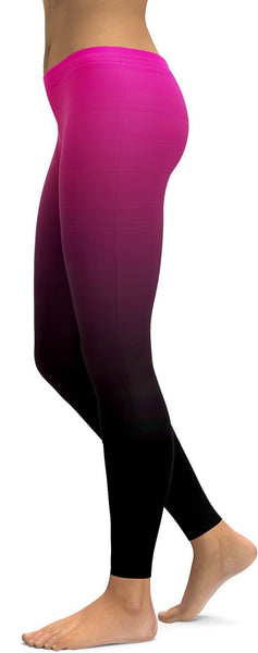 Ombre Pink to Black Leggings
