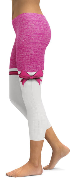Pink Heathered Thigh High Bow Capris
