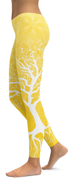 Yellow Tree of Life Leggings