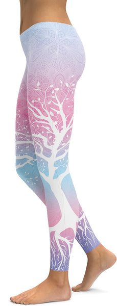 Pastel Blue & Pink Tree of Life Leggings