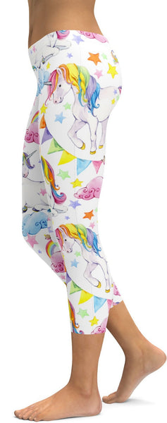 Watercolor Unicorn Capris
