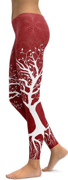 Deep Red Tree of Life Leggings