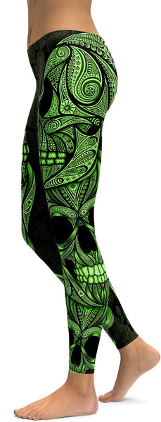 Green Ornamental Skull Leggings