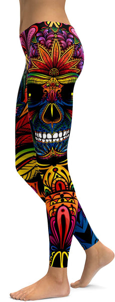 EDM - Rainbow Rave Skull Leggings