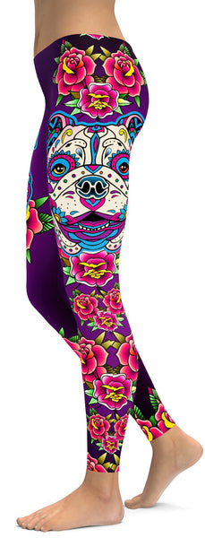 Sugar Skull Bulldog Leggings