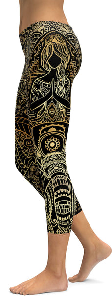 Golden Ornamental Elephant Capris