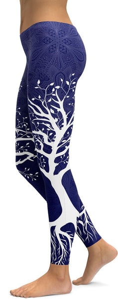 Navy Blue Tree of Life Leggings