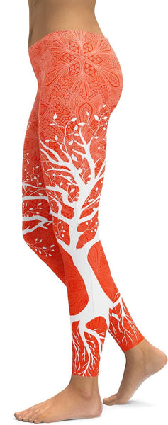 Hot Orange Tree of Life Leggings