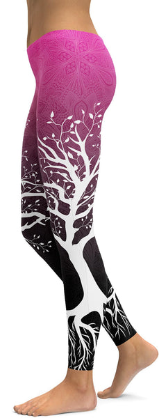 Pink to Black Tree of Life Leggings