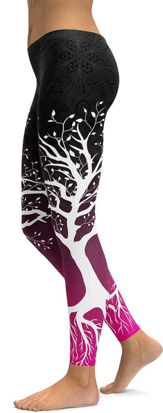 Black to Pink Tree of Life Leggings