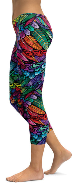 Colorful Feathers Capris
