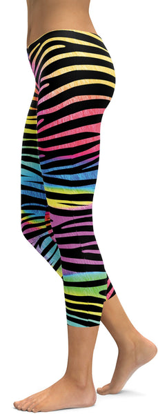Colorful Zebra Striped Capris