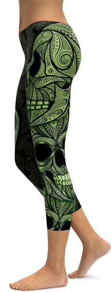 Green Ornamental Skull Capris