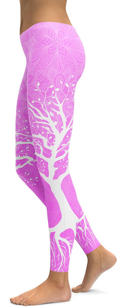 Soft Pink Tree of Life Leggings